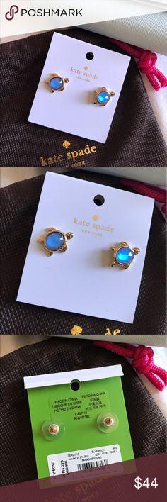 Turtle kate spade earrings 🐢 NWT turtle earrings. Comes with small bag as shown in pictures. No trades. Price firm unless bundled. Super cute! 🐢🏝💎 Only have 2 pairs, get them while available, I also try to ship out same day. kate spade Jewelry Earrings