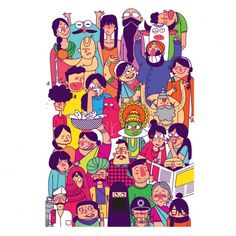 Buy Colorful Faces of India Framed Art Inch Online - Chumbak Art And Illustration, Indian Folk Art, Truck Art, India Art, Indian Art Paintings, Colorful Wall Art, Co Working, Canvas Signs, Posca
