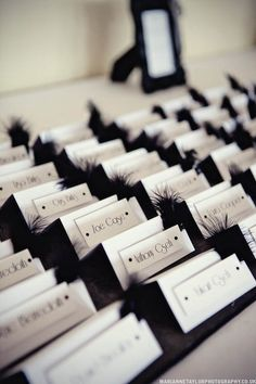 Place Cards w/ Feathers