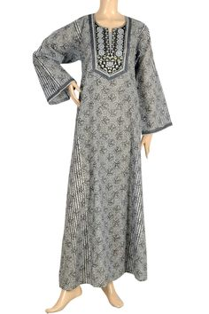 "aljalabiya.com: ""Blue Lilly"" Cotton print kaftan with machine embroidery (N-10547)  $54.00"