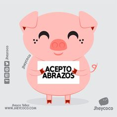 Cuantos abrazos para chanchito?  Feliz inicio de semana!   #jheycoco #humor #cute #ilustracion #kawai #tierno #kawaii  #amor #literal #literalidad #frases #music #musica #chanchito #pig #marranito #sticker #calcomanias #mug #regalo #kit #postal #sticker #venta #pocillo #lunes #abrazo #frases #quotes