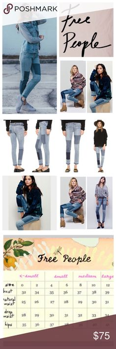 """Free People Jax Patched Skinny Jeans.  NWT. Free People Jax Patched Mid Rise Skinny Jeans, 96% cotton, 3% polyester, 1% spandex, machine washable, 30"""" waist, 9.5"""" front rise, 14.5"""" back rise, 28"""" inseam, 12.5"""" leg opening, contrast patched denim accents, unfinished raw hem and distressed detailing, five pockets, four button front closure, belt loops, measurements are approx. NO TRADES Free People Jeans Skinny"""