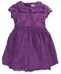 DKNY Girls Dress, Little Girls Lace-Embellished Cap-Sleeved Dress