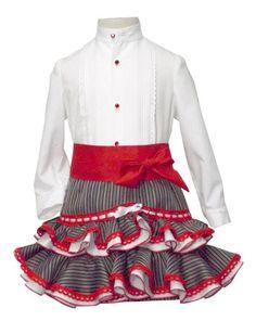 Traje campero para niña de camisa y falda Apron, Floral, Skirts, Leo, Fashion, Templates, White Bows, Black Boys, Red Lace
