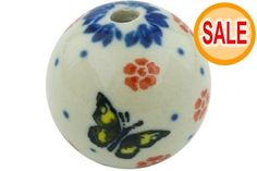 This Polish Pottery Stoneware Bead - 1522 is handmade and handpainted by the Ceramika Artystyczna factory. Polish Pottery, Pottery Art, Poland, Stoneware, Christmas Bulbs, Hand Painted, Beads, Holiday Decor, Handmade