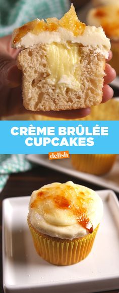 Crème brûlée cupcakes, recipe from Delish Oreo Cupcakes, Baking Cupcakes, Cupcake Recipes, Cupcake Cakes, Dessert Recipes, Cake Baking, Just Desserts, Delicious Desserts, Yummy Food
