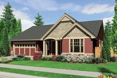 Craftsman Style House Plan - 3 Beds 2.00 Baths 1800 Sq/Ft Plan #48-414 Exterior - Front Elevation - Houseplans.com