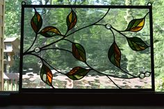 Stained Glass Window Panel Flowing Leaves 11.5 x 17.5 by KaleidoscopeGlass1 on Etsy https://www.etsy.com/listing/197727606/stained-glass-window-panel-flowing