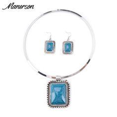 2016 Fashion Jewelry Set Women Stone Pendant Necklace Earring Gem Choker Metal Choker Circle Maxi Boho Ethnic Collier Statement