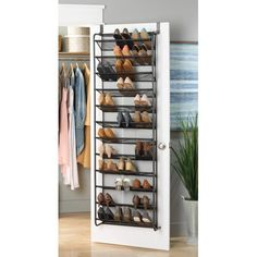 Do you love shoes and need more storage? The Whitmore Space Saving 'Over-the-Door' Shoe Organizer features storage for up to 36 pairs of shoes with no installation requried - just hang over the top of any standard sized door! Door Shoe Organizer, Door Storage, Closet Storage, Closet Organization, Clothing Organization, Diy Shoe Storage, Organizing Life, Storage Ideas, Best Shoe Rack