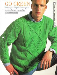 Knitting pattern  Man's Go Green sweater by MyPatternsCollection