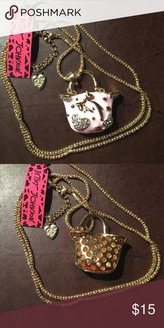 """Betsey Johnson Crystal pink handbag necklace new 28"""" chain. Next day shipping. New with tags Betsey Johnson Jewelry Necklaces"""