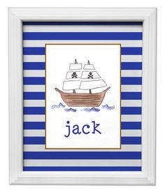 Ahoy Matey Pirate Ship Framed Artwork