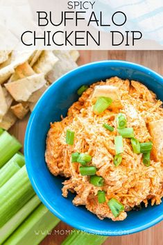Buffalo Chicken Dip - Easy appetizer recipe with the flavor of buffalo wings in a shareable dip! #diprecipes #diprecipeseasy #buffalochicken #appetizers #buffalochickendip #partyfoods