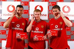 Man United launch their Vodafone deal, with Ryan Giggs (left), Paul Scholes and Ole Gunnar Solksjaer (right)
