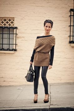 tan, oversized sweater paired with leather leggings. comfy on top, edgy on the bottom.