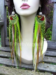 Big Feather Earrings Green Goddess Thick Extra by PrettyVagrant, #sellergroup