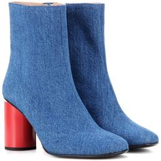 Acne Studios Althea Denim Ankle Boots ($750) ❤ liked on Polyvore featuring shoes, boots, ankle booties, blue, denim booties, acne studios, ankle boots, short boots and blue bootie