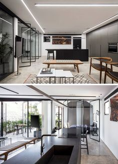 The black island in the kitchen was designed to create a focal point in this modern interior that has polished concrete floors.