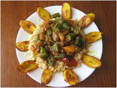 Palm Oil Stew    1 medium eggplant  1 red bell pepper (large chunks)  2 small habanera peppers  1 yellow onion (slice in large chunks)  3 cups of fresh okra (sliced)  1 ½ cup of red palm oil  Braggs to taste  2 cups brown rice (cooked)    Chop vegetables and set to the side. In a large wok or pot, stir fry okra and eggplant until softened. Add palm oil and the rest of the vegetables. Allow mixture to cook for five minutes and add Braggs to taste. Serve over rice.   Serves 5