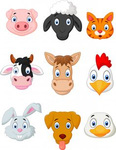 Cartoon farm animal set vector image on VectorStock Animal Pictures For Kids, Animal Crafts For Kids, Animal Projects, Animal Heads, Animal Faces, Imprimibles Toy Story, Farm Animal Coloring Pages, Cartoon Eyes, Animal Activities