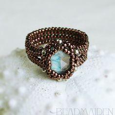 Beadwoven Faceted Rainbow Moonstone Herringbone Ring