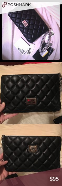 Love Moschino wristlet with silver detail NWT Love Moscino Borsa Nappa Pu wristlet. Black with silver detail. New with tags. Quilted Leather. Love Moschino Bags Clutches & Wristlets