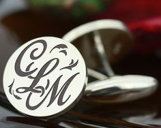 My Personal Jewellery  -  The Design Station Ltd - INITIALS (3) MONOGRAM Silver Cufflinks Style 2, £114.00 (inc VAT 20% (UK