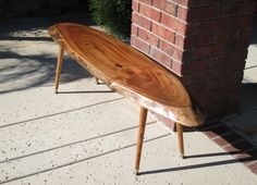 Natural Edge Slab Coffee Table. $499.00, via Etsy. Live Edge Furniture, Pet Feeder, End Tables, Coffee, Natural, Vintage, Etsy, Home Decor, Kaffee