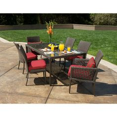 Walmart, eek, but...  Rushreed 7-Piece Patio Dining Set with Under Woven Table, Seats 6