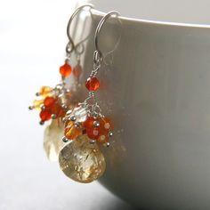 Items similar to Orange Earrings . Citrine carnelian cluster sterling silver earrings dangle earrings on Etsy Citrine Earrings, Sterling Silver Earrings, Pearl Earrings, Drop Earrings, Handmade Jewelry, Unique Jewelry, Handmade Gifts, Awareness Ribbons, Carnelian