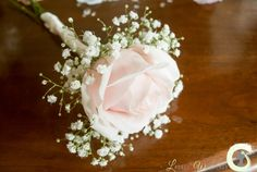 Blush pink rose flower girl wand