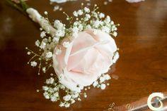 Blush pink rose flower girl wand