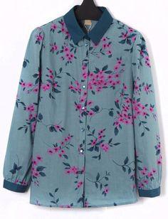 Blusa suelta floral solapa manga larga-Verde EUR€24.05