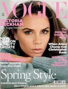 Victoria has graced the cover of British Vogue a couple of times, complete with her signature ' hand on head' pose so this cover for February's issue is a pleasant surprise. Description from fashion-is-a-victim.blogspot.co.uk. I searched for this on bing.com/images