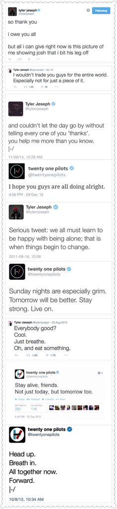 A compilation of encouraging and kind twenty one pilots tweets