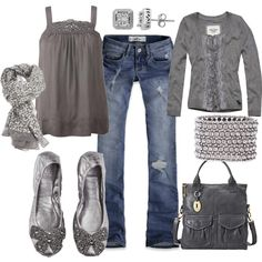 Silver & Grey, created by fleurdelove on Polyvore