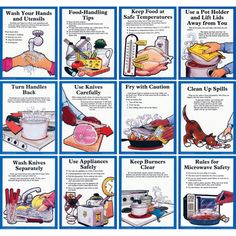 kitchen safety and health poster to avoid illness and injury. Nutrition Classes, Kids Nutrition, Nutrition Tips, Nutrition Education, Nutrition Quotes, Kitchen Safety Rules, Safety In The Kitchen, Kitchen Rules, Food Safety And Sanitation