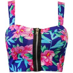 Crazy Girls Women's Printed Stretchy Zip Front Bralet Crop Bra Top ($0.51) ❤ liked on Polyvore featuring tops and crop tops