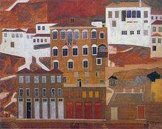 Nikos Nikolaou, Hydra , 31 x 40 cm , private collection Greek Art, Athens, Greece, Folk, Italy, Urban, Fine Art, Paris, Architecture
