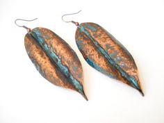 Buy Unique-Handmade Jewelry-Foldformed Copper Earrings-Blue Patina-Handmade Earrings-Hammered-Fold Formed-Copper Leaf- Earrings-Pendant Leaf by annarecycle. Explore more products on http://annarecycle.etsy.com