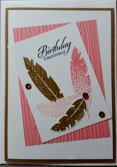 Female or Male Birthday Card - created for a CAS (clean and simple) Challenge using a retired Stamp Set and Die from Stampin' Up! called Four Feathers