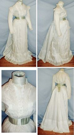 A fetching 1880's white cotton and eyelet summer seaside bustle dress. The front of the bodice is decorated with eyelet trim.