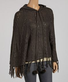Take a look at this Charcoal Pom-Pom Hooded Poncho by SR Fashions on #zulily today!