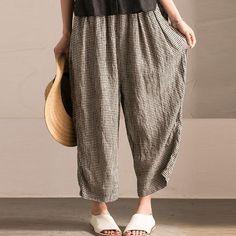 Irregular Women Lattice Loose Linen Cotton Long Pants