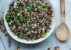 Red Quinoa Salad with Cauliflower and Walnuts via Bon Appetit