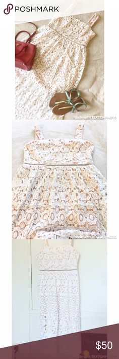 """🔥White Eyelet Midi Dress NEW New w/out Tags Beautiful White Eyelet dress, with Nude lining. Design and fabric is immaculate! Perfect for your summer getaway! Brand is Just Me. Size Large. Polyester. Measurement from Shoulder to hem is 50"""". Simply beautiful! 💛 Just Me Dresses Midi"""