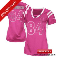 $79.99 Women's Nike Indianapolis Colts #34 Trent Richardson Limited Draft Him Shimmer Pink Jersey Women's Nike Indianapolis Colts #34 Trent Richardson Limited Draft Him Shimmer Pink Jersey