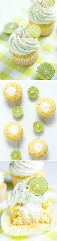 Coconut Cupcakes with Key Lime Buttercream Frosting ~ A delectable treat with fresh key lime flavor. A coconut cake is filled with coconut filling and topped with fresh key lime buttercream! Cupcake Frosting, Cupcake Cookies, Buttercream Frosting, Baking Cookies, Cupcake Recipes, Baking Recipes, Dessert Recipes, Cupcake Flavors, Cupcake Ideas