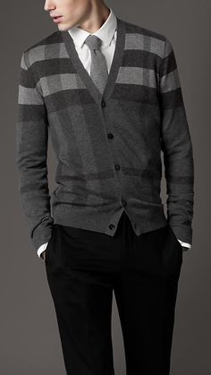 MenStyle - Burberry Check Wool Cardigan